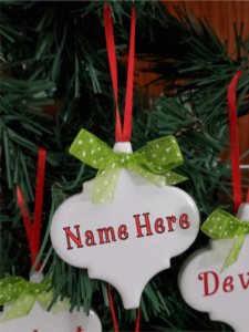 Arabasque Holiday Ornament with Green Bow & Red Ribbon and space for personalized name